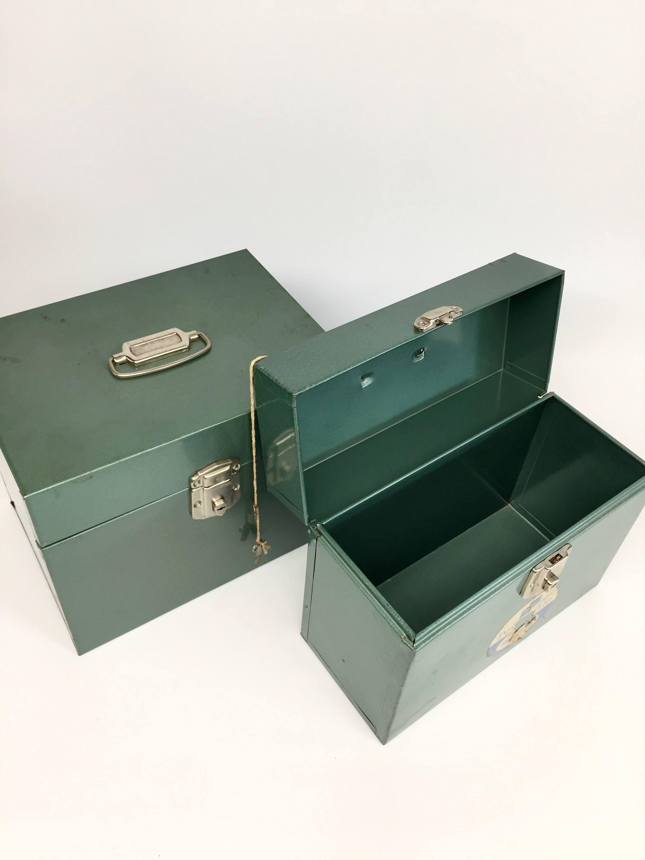 Set Porta File Boxes, Office Storage, Vintage Office Supplies, Mid Century Office  Supplies