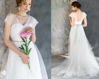 FLOREANA / a-line tulle exclusive unique wedding dress flyling, dot bridal gown boho unusual corset low back wedding dress with shot sleeve