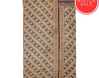 WINTER SALE - KANTHA Throw - Creamy beige with blue. Reverse pale brown and red - Unique, one of a kind.