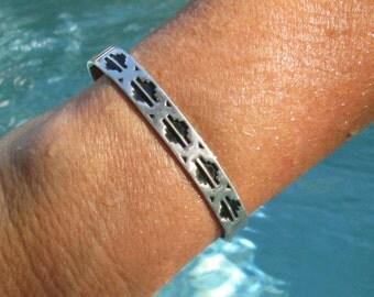 Native American B.Webb Sterling Overlay Cuff Bracelet