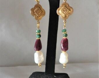 A Fabulous Baroque Ruby Emerald Earrings********.
