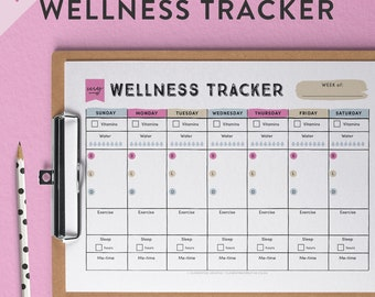 Printable Wellness Tracker | Printable Health Tracker | Printable Self-care Tracker | Printable Diet Tracker