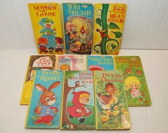 Vintage Children's Fairy Tale Modern Promotions Board Books (c. 1970's) Mother Goose, Tom Thumb, Jack & The Beanstalk, Learning to Read