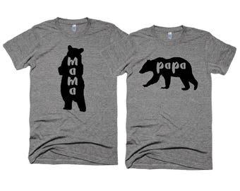 Mama Bear Tshirt - Papa Bear  t-shirt - Bear Family - Unisex t-shirts - Cliche Zero