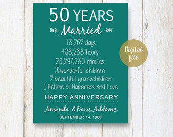 50th Anniversary Gift - 50 years Wedding Anniversary - Personalized 1968 Wedding Print - Anniversary Print - DIGITAL FILE!