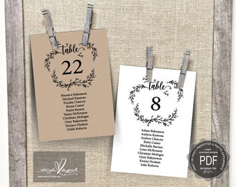 Wedding Guest Seating Chart Template, Table No card, Head Table card, editable pdf, Wedding Seating plan, in rustic kraft theme (TED418_6)