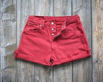 Vintage Levi 501 Red Cutoffs - Levi's Button Fly Denim Shorts - Levi Strauss - Made in USA - Women's Medium  - W29 W30