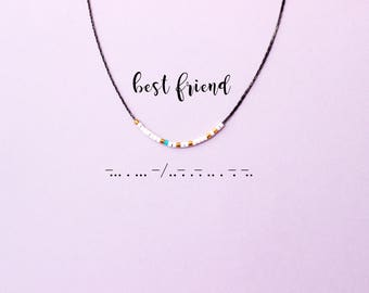 BEST FRIEND Morse Code Necklace, Friendship Necklace, Gift For Best Friend