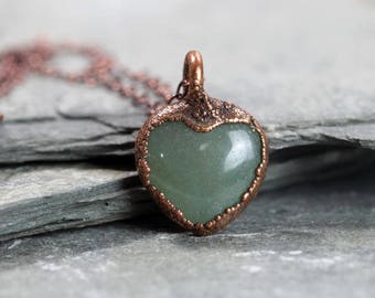 Aventurine Necklace Heart Pendant Electroformed Stone Green Heart Necklace Copper Chain Electroformed Necklace