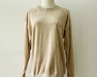 70s 80s tan velour sweatshirt. Vintage sportswear sweatshirt. Beige sweater. Velvet 80s pullover. 70s sports top. Normcore sweatshirt. L