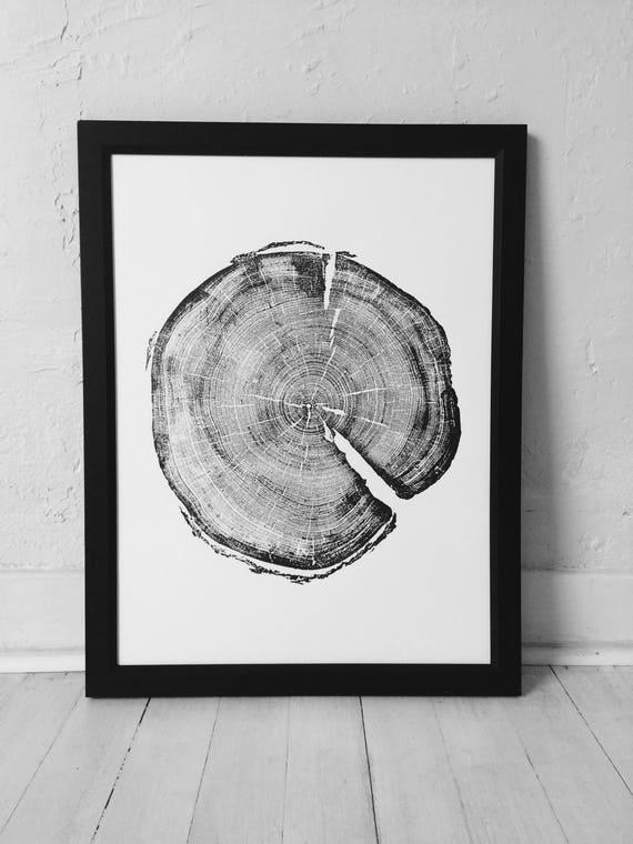 183 year old Tree, Tree ring art print, Woodcut print, Uinta Forest art, Real Tree Stump Art, Woodcut art print, holiday art, Arborist art