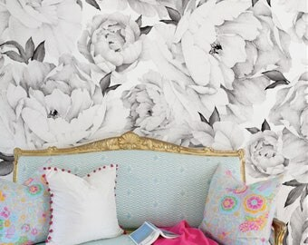 Peony Flower Mural Wallpaper, Black and White, Watercolor Peony Extra Large Wall Art, Peel and Stick Wall Poster