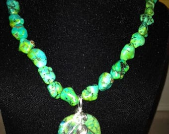 Wire Wrapped Chrisocola Green Blue Pendant with Dyed Magnesite Beaded Necklace