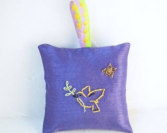 Hand-embroidered Hanging Lavender Sachet filled with home-grown lavender from Napa Valley | Sleep Aid | Air Freshener | Bird | Dove of Peace