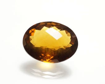 Deep Whisky Quartz Faceted - Oval Faceted Gemstone 21x16x10.5 mm - checker cut Stone Whisky Quartz Stones