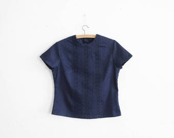 Mid Century/Antique Navy Embroidered Collarless Blouse - Made in France - 1950s