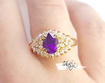 Amethyst Gemstone Quartz Golden Ring. February Birthstone Purple Stone Feminine Jewelry Eye Catcher Gem Ring | Bridesmaid Ring Gift for Mom