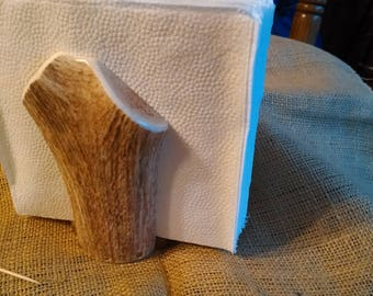 "Napkin Holder, Elk Antler with black walnut hardwood bottom, holds paper napkins, almost 6"" high..brown w/cream fresh antler"