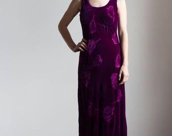 1930s-Inspired Vintage Silk Velvet Slip Dress // Size Medium