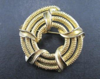 Vintage Gold Tone Rope Coil Brooch Pin MJENT M JENT MJ Enterprises Signed