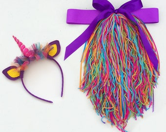 Purple Rainbow Yarn Unicorn Headband and Tail Set with Elastic Waistband