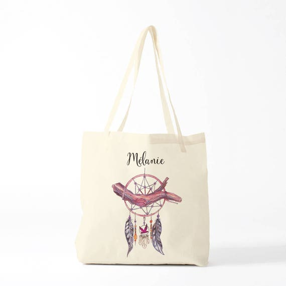 Tote bag, Dreamcather, pink, name, custom tote bag, canvas bag, novelty gift, gift coworker.