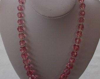 Multi-faceted Pink Crystal Necklace.  (738)
