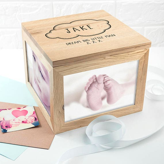 New Baby Gifts Uk Delivery : Baby name in cloud large keepsake box photo cube
