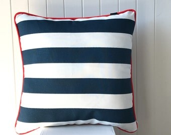 Outdoor / Indoor Oxford Blue & White Stripes 45cm X 45cm Cushion / Pillow Cover - Nautical - Hampton - Coastal - Beach House