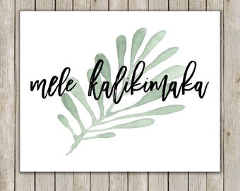 8x10 Mele Kalikimaka, Hawaiian Greeting, Holiday Decor, Christmas Quote, Christmas Lyrics, National Lampoon, Holiday Art, Instant Download