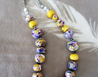 Necklace polymer clay, purple, yellow, gray, white...