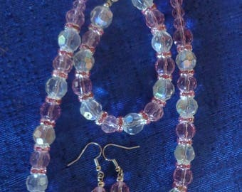 Pink Necklace Set,Crystal Necklace,Mothers Day Gift,Pink Earrings,Pink Bracelet,Pink Prom Necklace Set