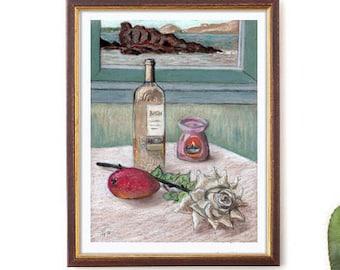 "Reproduction Art Print, ""Salud, dinero y amor"", Poster, Small size art, 12"" x 16"", Vine, Rose, Mango, Wall Decor, Housewarming gift idea"