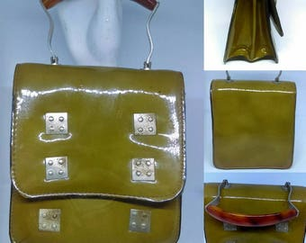 1960's Olive Green Patent Box Bag With Tortoiseshell Lucite Handle - Good Condition - Only 25 Pounds!