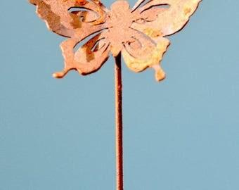 P406 Butterfly Garden Pick | Rusty Metal Garden Art By Elegant Garden  Design | Outdoor Metal
