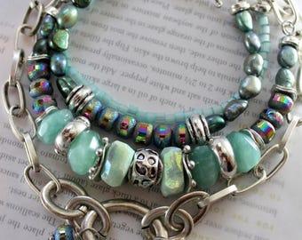 green bracelet, amazonite bracelet, pearl bracelet, hematite bracelet, bohemian bracelet, boho chic bracelet, valentines for her, green