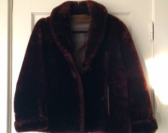 Vintage Brown Faux Fur Coat, Jacket, Heavy Warm Winter Swing Coat, Cuffs and Pockets 60's Mid Century