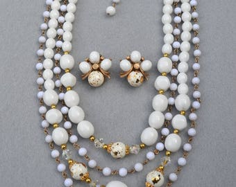 White and Gold Fleck Beads Necklace and Earrings Vintage