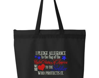 Military Tote Bag/ Embroidered I Pledge Allegiance To United States and My Heart To Soldier Who Protects It Tote Bag/ Military Wife Tote Bag