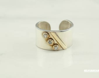 1970 Paris Pierre Cardin Diamond Sterling Silver w/ 14k Accents Ring Size 7