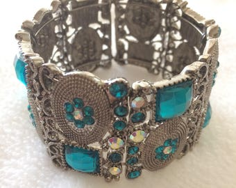 Vintage Silver Tone Metal Turquoise Blue Rhinestone Cuff Bracelet Costume Jewelry