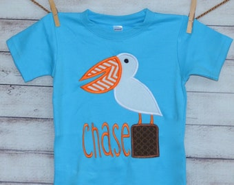 Personalized Pelican Applique Shirt or Onesie Girl or Boy