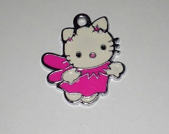 X 1 cat kitty Angel pink enamel 25mm
