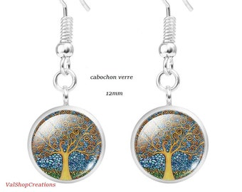 Tree of life glass cabochon earrings 12mm