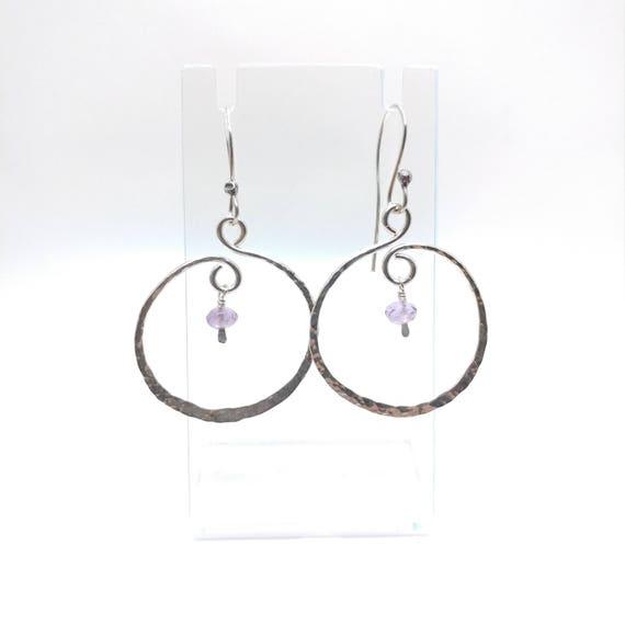 Gemstone Earrings | Sterling Silver Earrings | Amethyst Earrings | Boho Earrings | Natural Stone Earrings | Hammered Silver Earrings