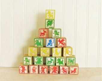 Vintage Wood Disney Blocks Lot of 22 Alphabet Blocks Animal Blocks Letter Blocks Disneyana ABC Blocks Wood Blocks Toy Blocks Disney Toy