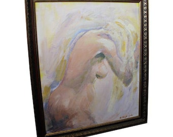 Mid-Century Modern C. Dengler Vintage Abstract Oil Painting of Nude Woman