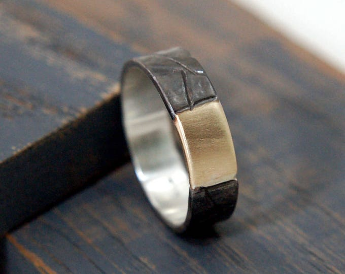 Featured listing image: Mens Sterling Silver and 9K Yellow Gold Promise Ring. Black Rhodium Plated Sterling Silver and 9K Yellow Gold Promise Ring for Him.