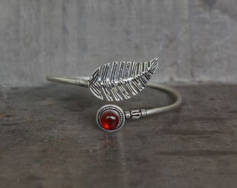 Feather Bangle Bracelet with Red Onyx Stone - 925 Silver