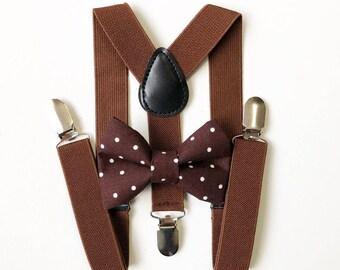 FREE DOMESTIC SHIPPING! Brown Suspenders + Polka dot bow tie kids children toddler boy boys wedding pictures birthday formal weddin